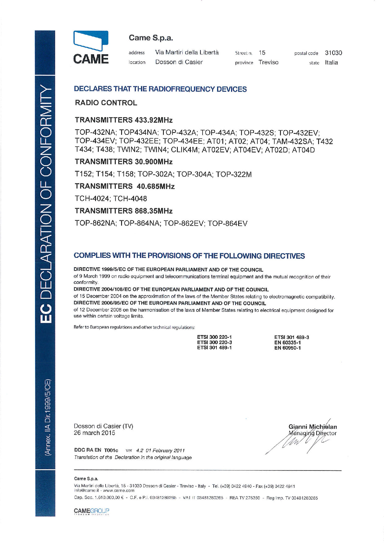 Certifikát CAME