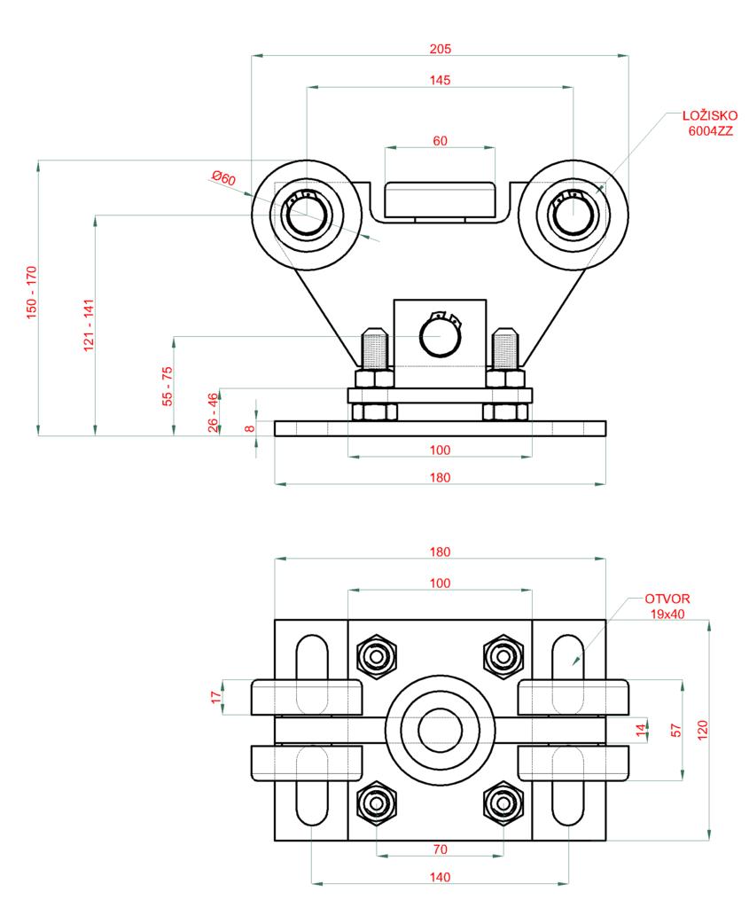 Nákres vozíku 70x70x4