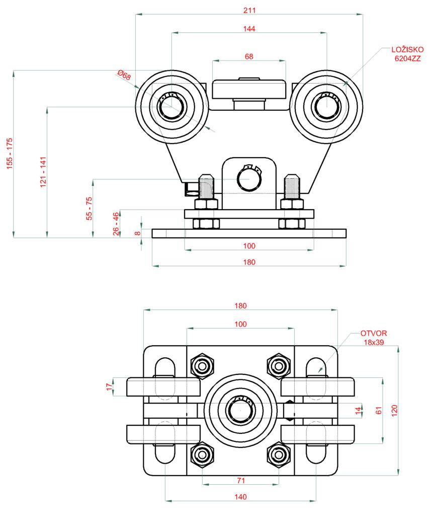 Nákres vozíku 80x80x5