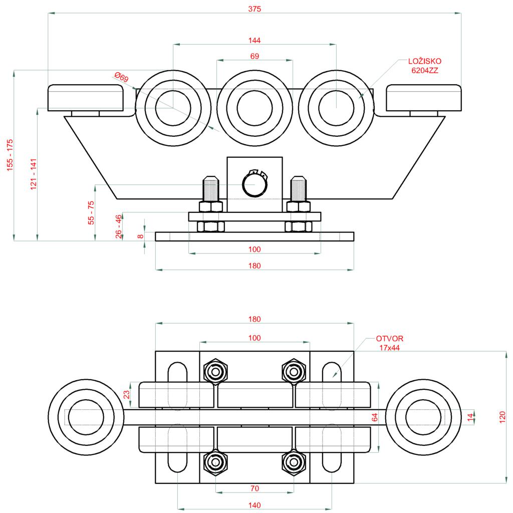 Nákres vozíka 80x80x5