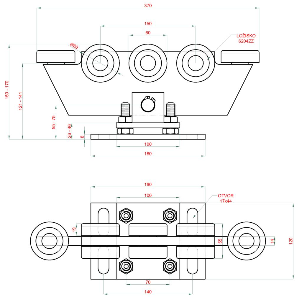 Nákres vozíka 70x70x4