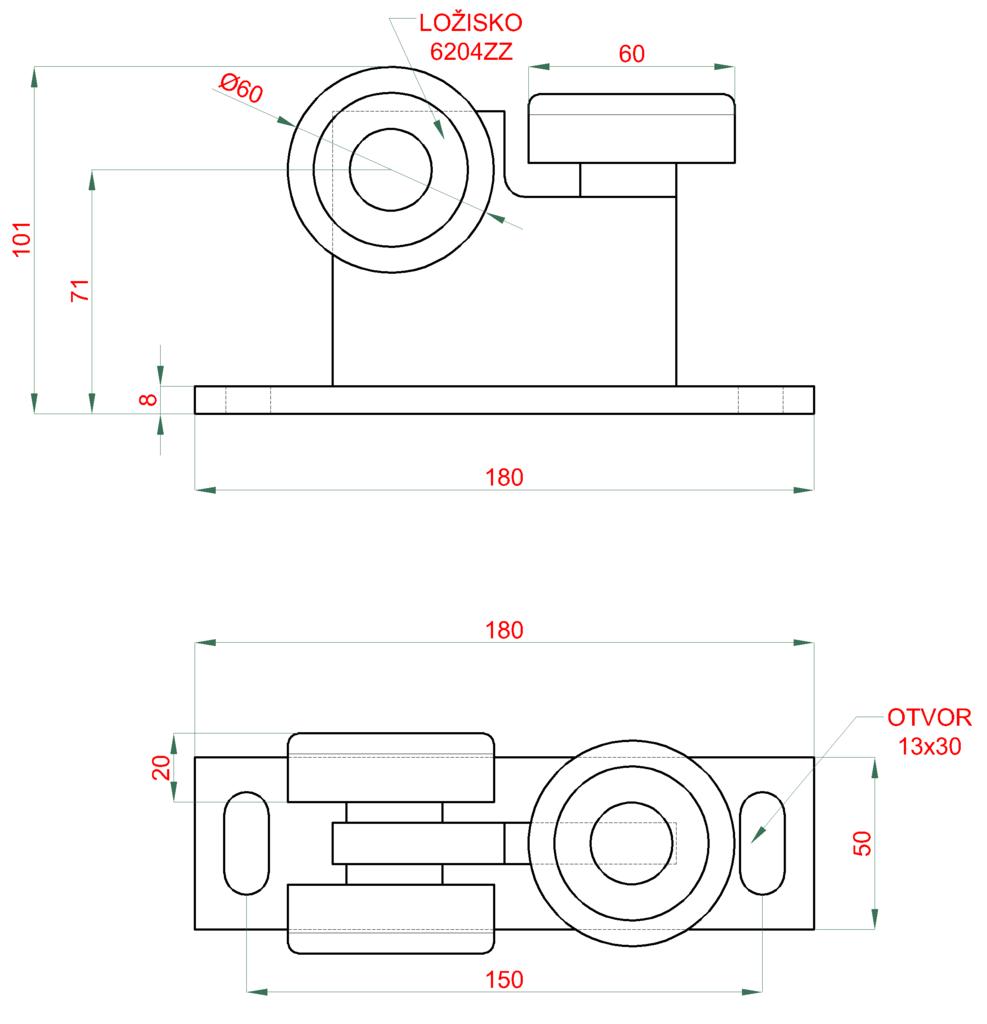 Nákres vozíku 60x60x4