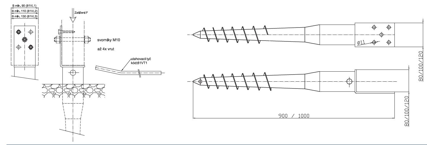 Zemná skrutka s kotviacim prvkom L