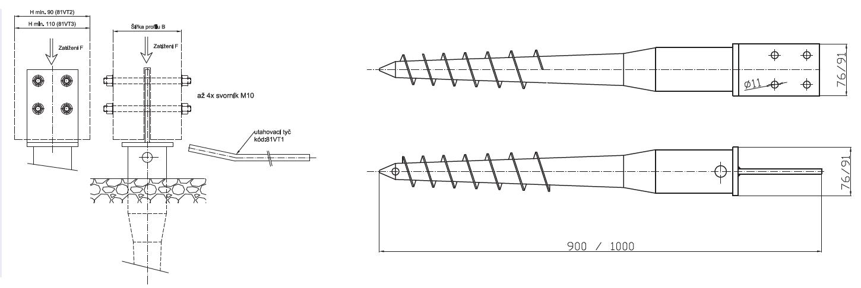 Zemná skrutka s kotviacim prvkom T
