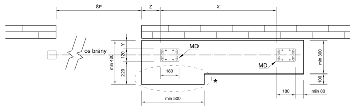 Výkres betónového základu samonosnej brány do 6,5m