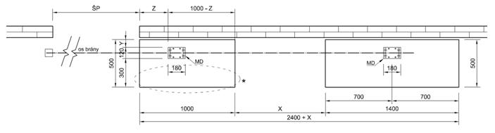 Výkres betónového základu samonosnej brány nad 6,5m