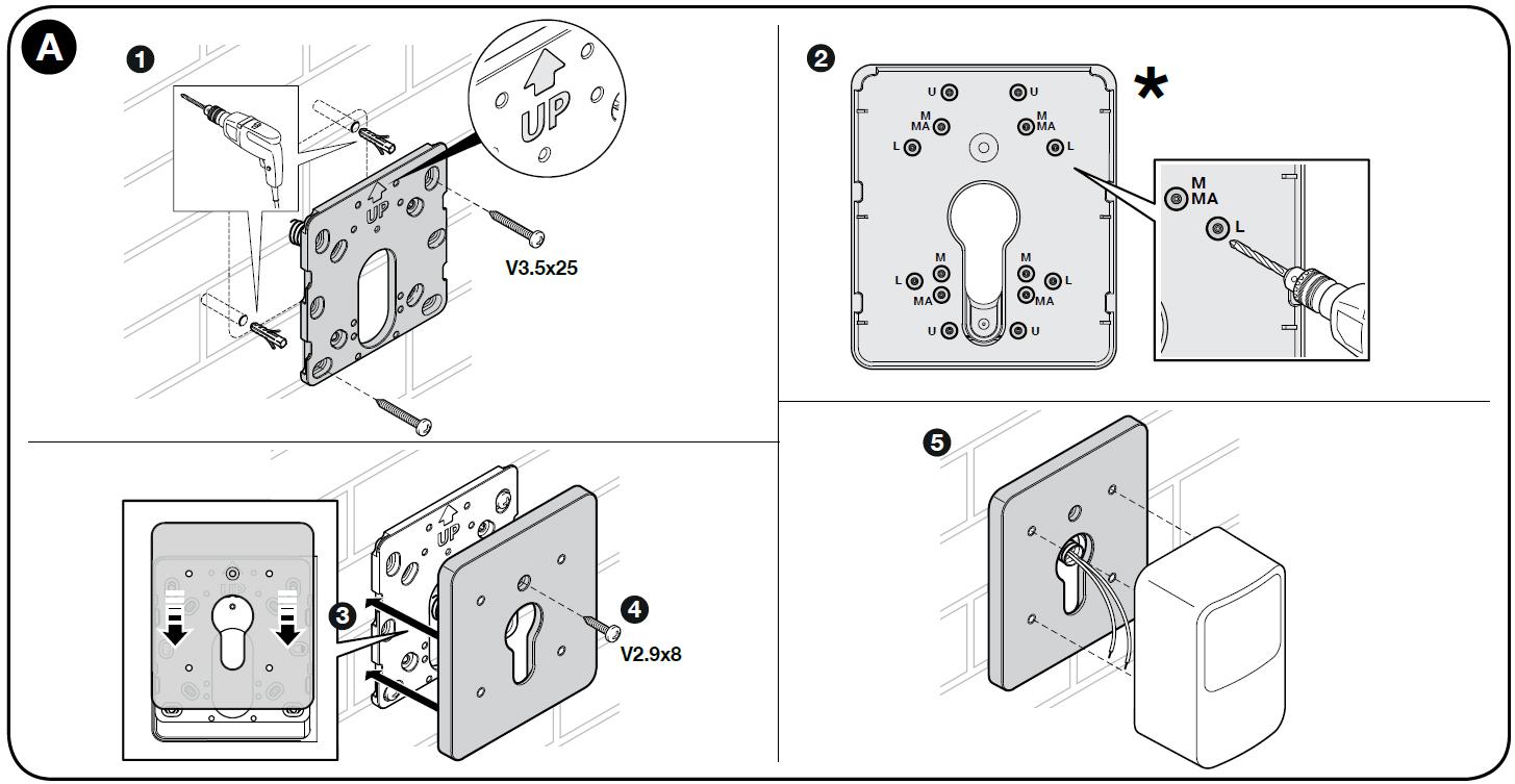 Ukážka montáže držiaka pre fotobunky NICE-POE
