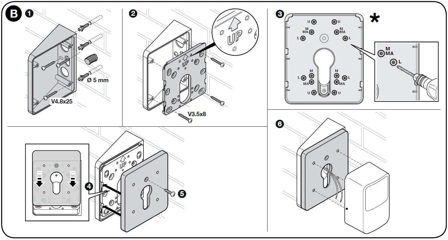 Ukážka montáže B držiaka pre fotobunky NICE-POE:
