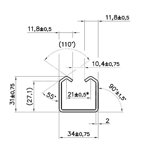 Detailný nákres profilu 34×31×2,0mm pre závesnú bránu