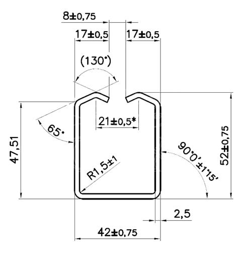 Detailný nákres profilu 42×52×2,5mm pre závesnú bránu