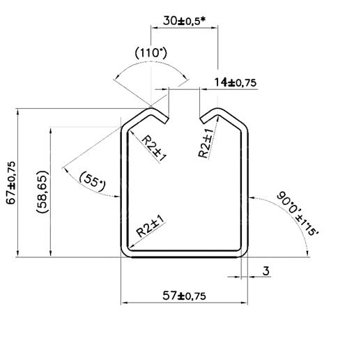 Detailný nákres profilu 57×67×3,0mm pre závesnú bránu