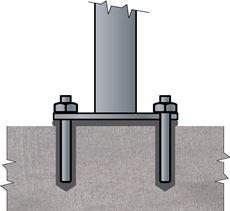 Ukotvenie stĺpiku do múriku na dve chemické kotvy