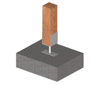 Ukážka použitia kotviacej pätky tvaru U s podstavou