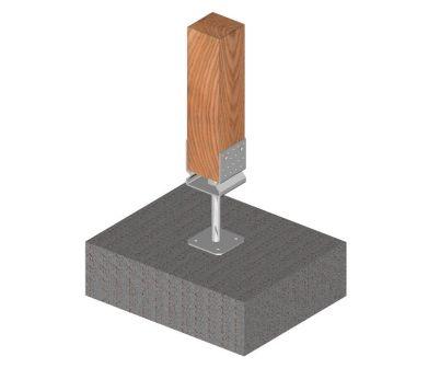 Ukážka použitia kotviacej pätky tvaru U s prelisom s podstavou skrutkovacej