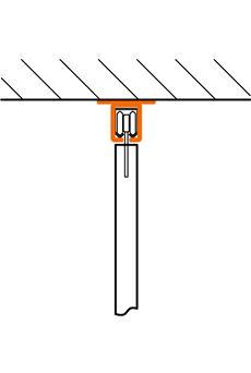 Vrchné uchytenie C-profilu závesnej brány na strop, alebo nosník