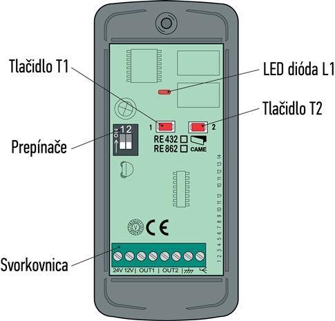 Schéma externého prijímača CAME RE432