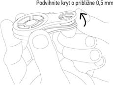 2. Podvihnite spodok krytu o približne 0,5mm