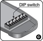 Prepínač DIP ovládaču NICE Flo