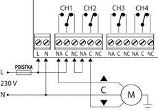 Ukážka zapojenia pre dvojsmerný motor (jeden kanál/relé pohybuje jedným smerom, druhý druhým)