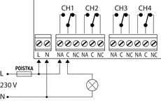 Ukážka zapojenia pre všeobecný elektrický okruh (svetlo, motor, ...)