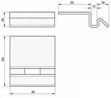 Rozmery dorazu elektrozámku NICE PLA10