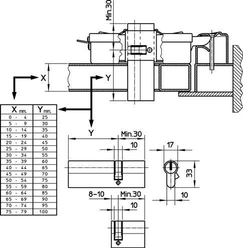 Elektrozámok NICE PLA10, PLA11 rozmery podporovaných vložiek