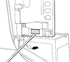 1. Vylúpnite plastovú krytku konektoru batérie