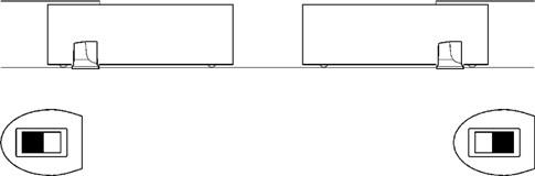 Schéma situácie zapojenia dvoch proti sebe idúcich automatizovaných brán