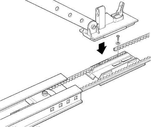 5. Vložte remeň do vozíku, zaistite ho pomocou skrutky a podložky a následne zasuňte vozík naspäť do lišty: