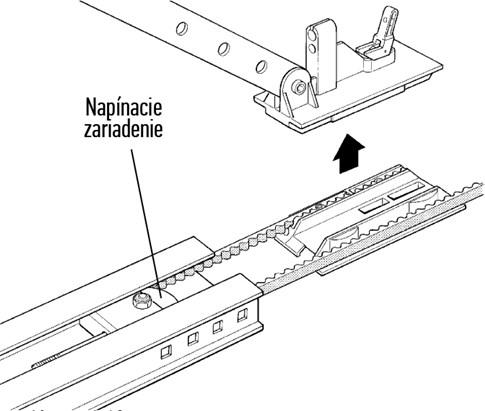 3. Posuňte napínacie zariadenie do medzipolohy tak, aby ste mohli vytiahnuť z lišty vozík: