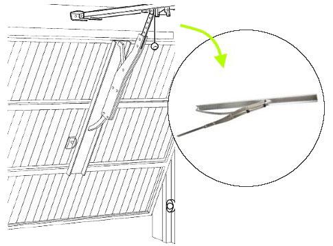 Umiestnenie NICE SPA5 na krídlo garážovej brány