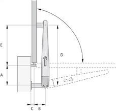 Nákres otvárania pohonu NICE Toona smerom von