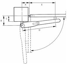 Nákres otvárania pohonu NICE Wingo smerom dnu