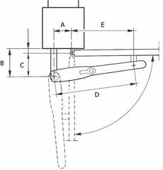 Nákres otvárania pohonu NICE Wingo smerom von