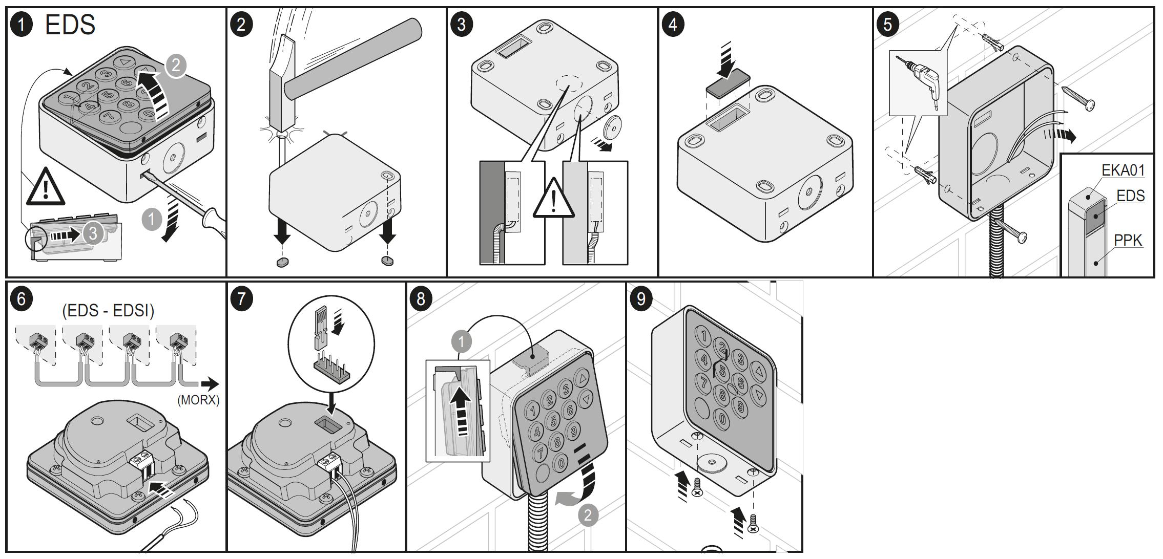 Montáž klávesnice NICE EDS
