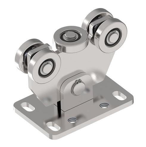INOX Vozík pre nerezovú posuvnú bránu s 5 rolkami pre C-profil 58x58x3