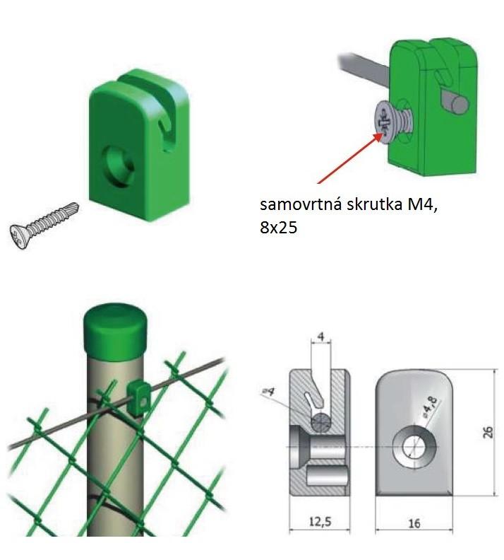 Úchytka pletiva skrutkovacia - zelená