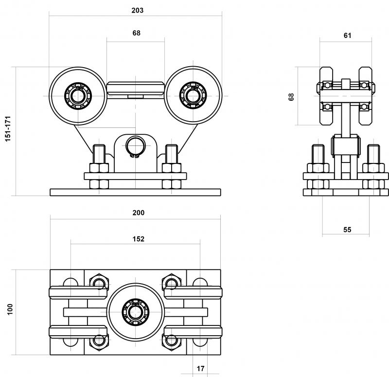 Nákres vozíku v-02-1-inox