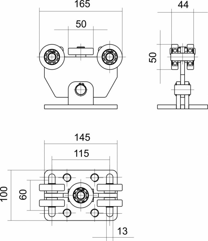 Nákres vozíku 58x58x3