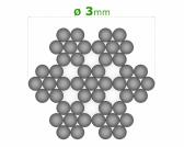 Nerezové lanko Ø3mm, 7x7 drôtov, INOX AISI316