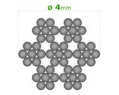 Nerezové lanko Ø4mm, 7x7 drôtov, INOX AISI316