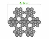 Nerezové lanko Ø6mm, 7x7 drôtov, INOX AISI316