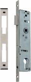 Zámok do bránky s hranatým niklovaným predkom pre zapustenie 50mm