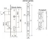 Zámok do bránky s hranatým niklovaným predkom pre zapustenie 50mm, ZZ-06