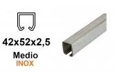 INOX C-profil pre závesnú bránu 42×52×2,5, nerezový