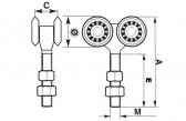 INOX Vozík pre závesnú bránu 4 rolky pre profil 42×52×2,5