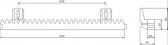 Ozubený hrebeň poplastovaný 30x20mm, s oceľovým jadrom 12x12mm, M4