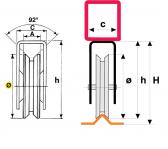 INOX Koliesko koľajovej brány na skrutkovanie s konzolou tvar V nerezové