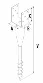 Zemný vrut s kotviacim prvkom tvaru U