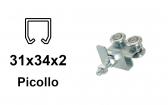 Vozík pre závesnú bránu 4 rolky s podstavou pre profil 34×31×2,0